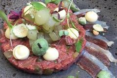 Steak tartare, smoked duck, apple & wasabi