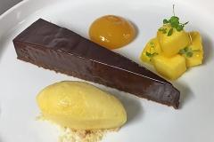 Chocolate pave, passionfruit sorbet & mango salad, fresh mango