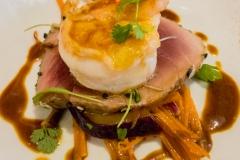 Rare roasted tuna, curried king prawn, carrot & cumin salad