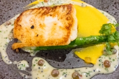 Pan fried turbot, Formby asparagus, caviar veloute